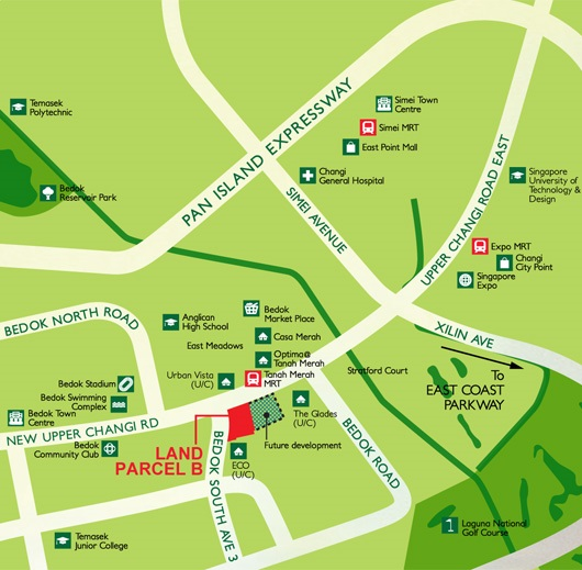 New Upper Changi Road Bedok South Avenue 3 Parcel B location map