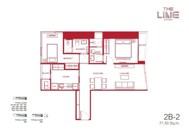the line sathorn floor plan 2b-2